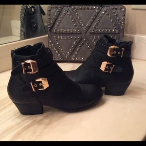 Shoes - Beautiful Black Boots with Gold Buckle